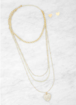Layered Choker Necklace with Heart Stud Earrings - 1138062813379