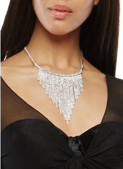Rhinestone Fringe Necklace - 1138062813446