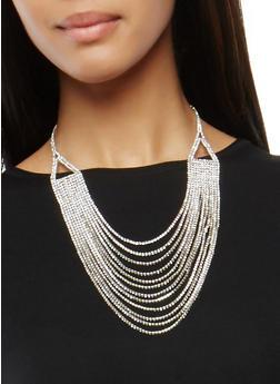 Layered Rhinestone Necklace - 1138062813448