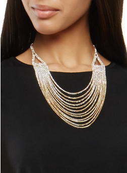 Layered Rhinestone Necklace - 1138062813448