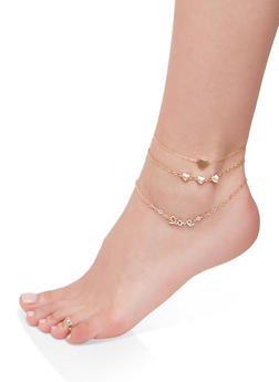 Rhinestone Heart Anklet Trio with Toe Ring - 1138062814365