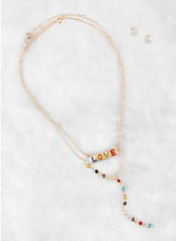 Colored Rhinestone Love Charm and Y Neck Necklaces - 1138062814693