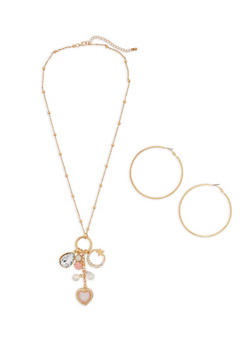 Beaded Charm Necklace and Hoop Earrings - 1138062815346