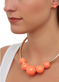 Large Bead Metallic Necklace with Stud Earrings - 1138062815497