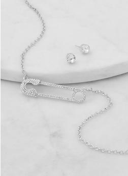 Rhinestone Safety Pin Necklace with Stud Earrings - 1138062816900