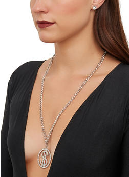 Dollar Sign Necklace with Stud Earrings - 1138062817432