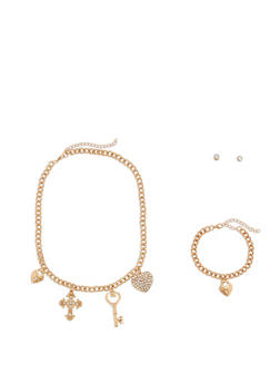 Charm Necklace with Matching Bracelet and Stud Earrings - 1138062819553