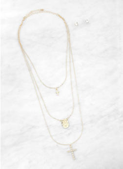 Layered Cross Necklace with Stud Earrings | 1138062819574 - 1138062819574