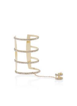 Rhinestone Ring Hand Chain Open Cuff Bracelet - 1138062819756