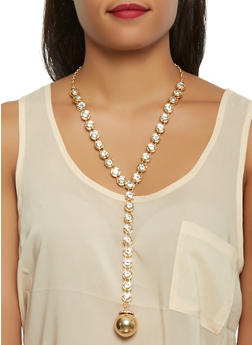 Long Rhinestone Y Necklace with Stud Earrings Set - 1138062920061
