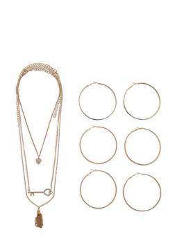 Tassel Key Necklace with Large Hoop Earring Trio - 1138062920075