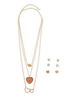 Layered Heart Necklace with Stud Earrings - 1138062920342