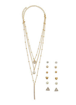 Layered Charm Necklace with 6 Stud Earrings - 1138062920660
