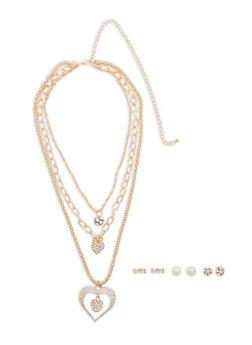 Multi Layer Charm Necklace with Stud Earrings - 1138062920663
