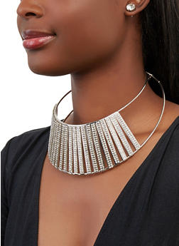 Rhinestone Caged Collar Necklace with Stud Earrings - 1138062920866