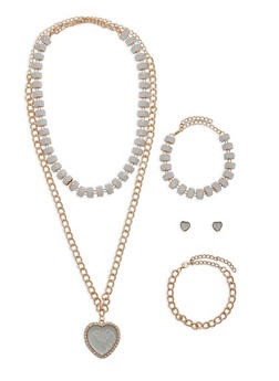 Heart Pendant Necklace with Matching Bracelets and Stud Earrings - 1138062920887