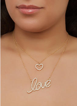 Love Layered Charm Necklace with Stud Earrings - 1138062920904