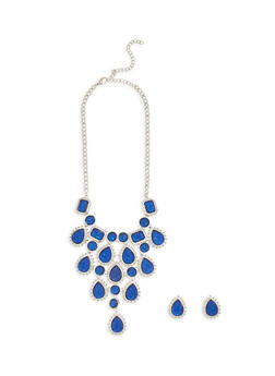 Rhinestone Bib Necklace with Matching Stud Earrings - 1138062921131