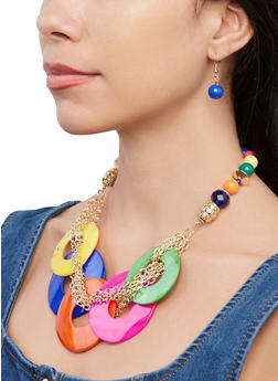 Circular Beaded Necklace with Drop Earrings - 1138062921193