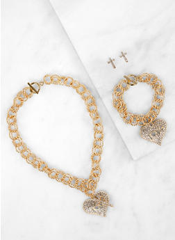 Love Toggle Necklace with Bracelet and Earrings - 1138062921319