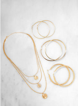Coin Charm Necklace and Hoop Earring Trio - 1138062921387