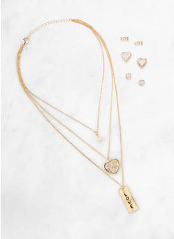 Rhinestone Love Charm Necklace and Stud Earring Trio - 1138062921404