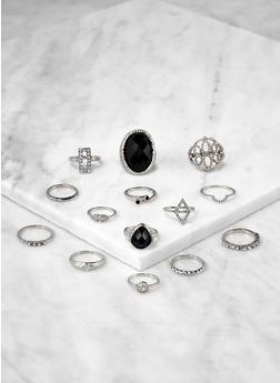 Set of 14 Jeweled Metallic Rings - 1138062921614