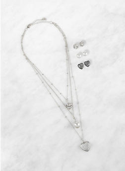 Layered Charm Necklace with Stud Earring Trio - 1138062921667