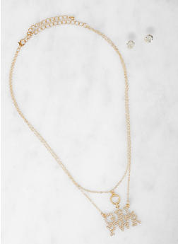 GRL PWR Charm Necklace with Stud Earrings - 1138062921670