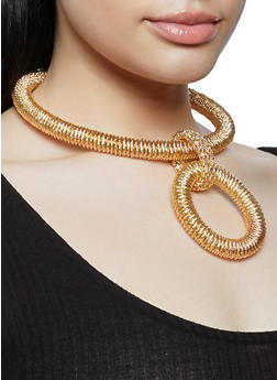 Spring Coil Necklace with Earrings - 1138062921701