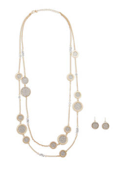 Layered Necklace with Matching Earrings Set - 1138062921714