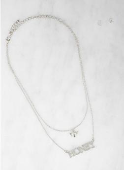 Rhinestone Honey Necklace with Stud Earrings - 1138062921761