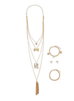 Layered Charm Necklace with Bracelets and Stud Earrings - 1138062922178