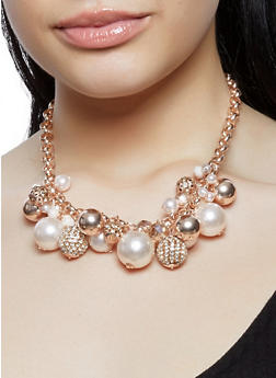 Faux Pearl Collar Necklace with Drop Earrings - 1138062922435