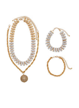 Glitter and Rhinestone Necklace and Bracelets - 1138062922567