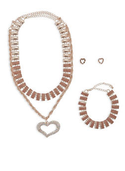 Glitter and Rhinestone Necklaces with Bracelet and Stud Earrings - 1138062922570