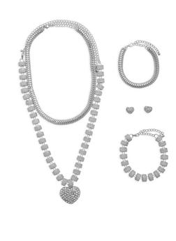 Glitter Rhinestone Necklaces with Bracelets and Earrings - 1138062922572