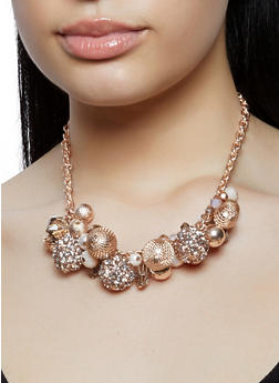 Faux Pearl Beaded Collar Necklace with Drop Earrings - 1138062922757