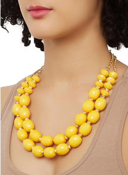 Two Row Beaded Necklace with Stretch Bracelets and Earrings - 1138062923208