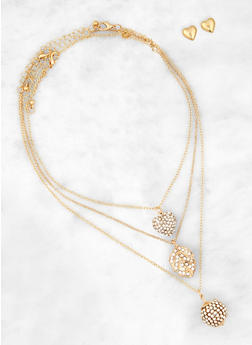 Leaf Charm Necklaces with Stud Earrings - 1138062923232
