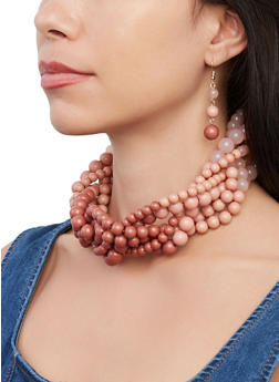 Beaded Twist Necklace with Drop Earrings - 1138062923263