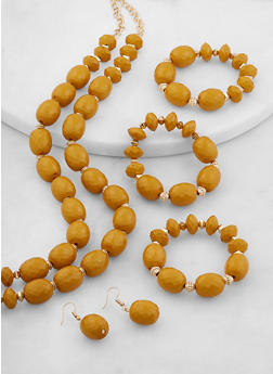 Beaded Tiered Necklace with Stretch Bracelets and Earrings - 1138062923280