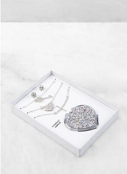 Layered Charm Necklace with Earrings and Compact Mirror - 1138062923323