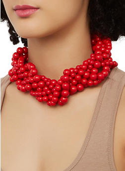 Twisted Collar Necklace and Drop Earrings - 1138062923329