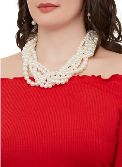 Layered Faux Pearl Necklace and Drop Earrings - 1138062923623