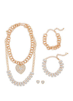 Glitter Necklace Set with Matching Bracelets and Earrings - 1138062923907