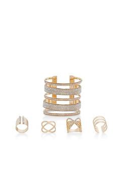 Rhinestone Cuff Bracelet with 4 Rings - 1138062923913