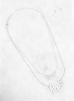 Layered Hope Necklace with Stud Earrings - 1138062924088