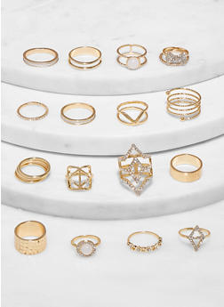 Set of 16 Assorted Rings - 1138062924156