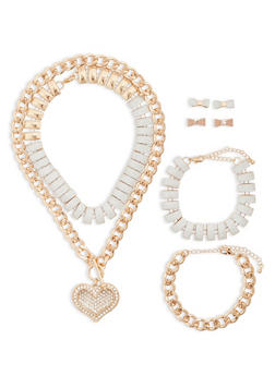 Glitter Rhinestone Necklaces with Bracelets and Earrings - 1138062924216